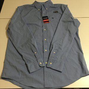 Chaps Mens Blue Long Sleeve Dress Shirt Large